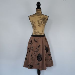 Anthropologie Odille Embroidered Rose Skirt